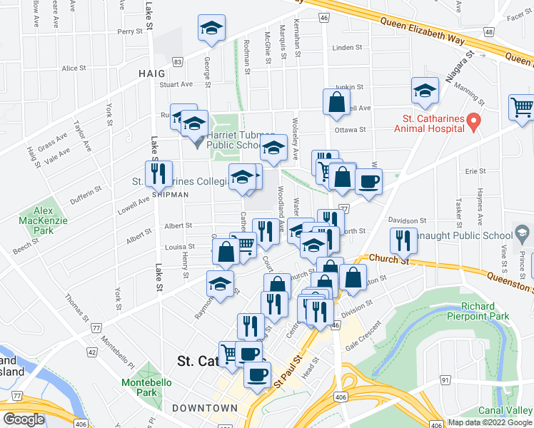 map of restaurants, bars, coffee shops, grocery stores, and more near 20 Hetherington Street in St. Catharines