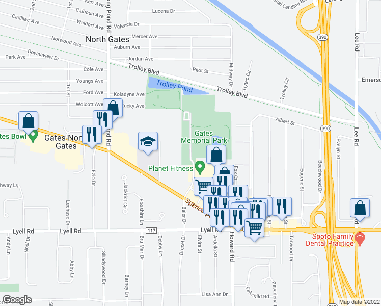 map of restaurants, bars, coffee shops, grocery stores, and more near Karl Fuchs Drive in Rochester