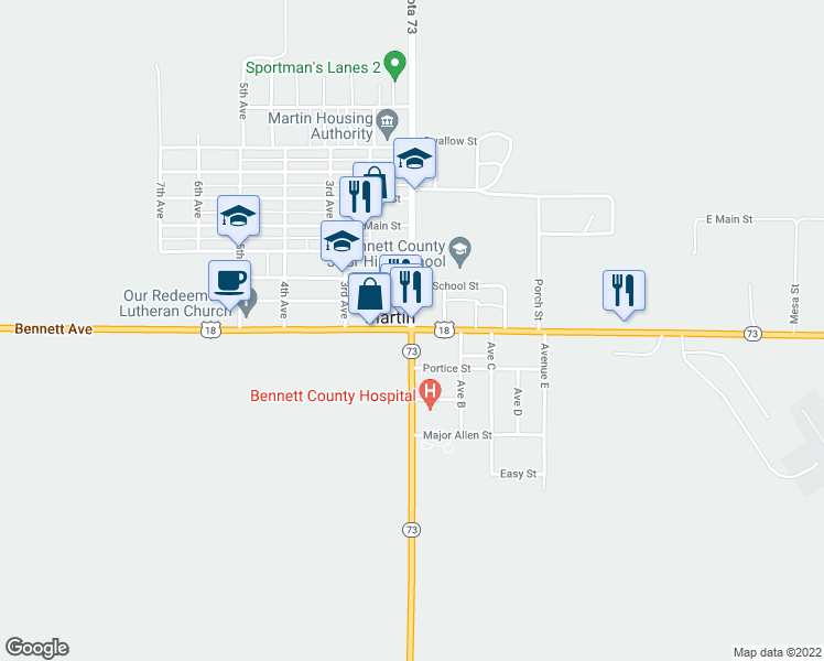 map of restaurants, bars, coffee shops, grocery stores, and more near Highway 73 in Martin