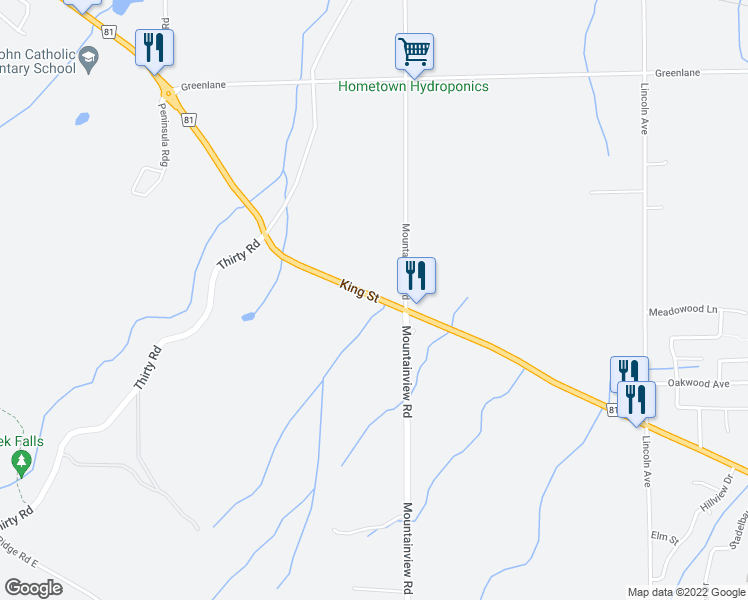 map of restaurants, bars, coffee shops, grocery stores, and more near 5418 Niagara Regional Road 81 in Lincoln
