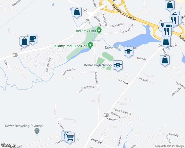 map of restaurants, bars, coffee shops, grocery stores, and more near 22 Lisa Beth Drive in Dover