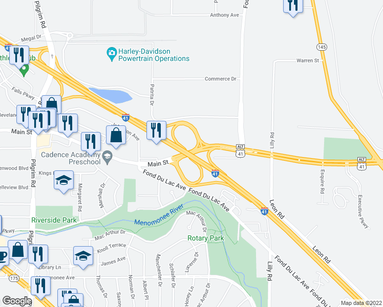 map of restaurants, bars, coffee shops, grocery stores, and more near 5 Main Street in Menomonee Falls