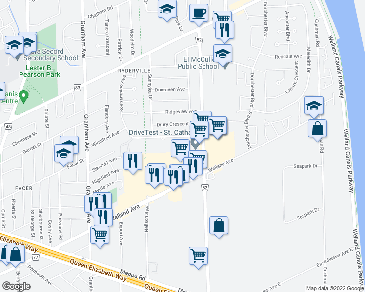 map of restaurants, bars, coffee shops, grocery stores, and more near 87 Roehampton Avenue in Saint Catharines