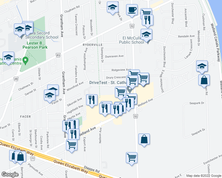 map of restaurants, bars, coffee shops, grocery stores, and more near 70 Roehampton Avenue in St. Catharines
