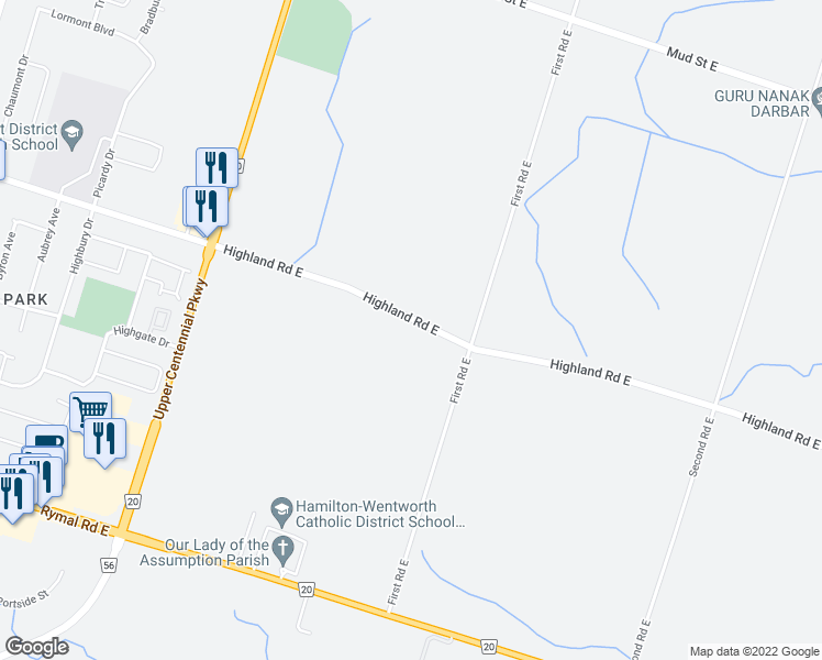map of restaurants, bars, coffee shops, grocery stores, and more near 88 Highland Road East in Hamilton