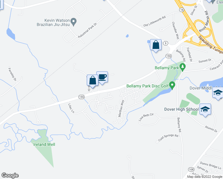 map of restaurants, bars, coffee shops, grocery stores, and more near 67 West Knox Marsh Road in Dover