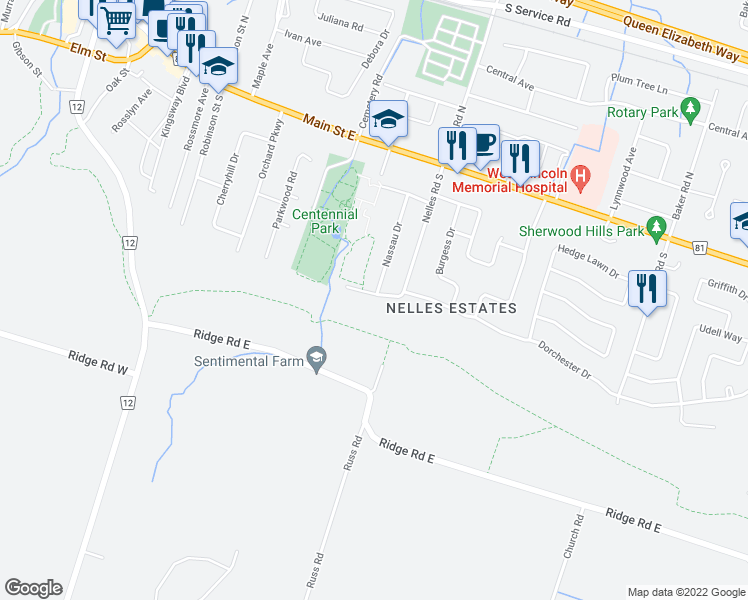 map of restaurants, bars, coffee shops, grocery stores, and more near 44-54 Dorchester Dr in Grimsby