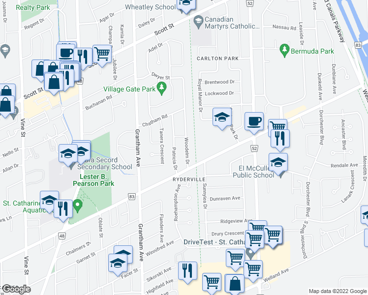 map of restaurants, bars, coffee shops, grocery stores, and more near 13 Woodelm Drive in St. Catharines
