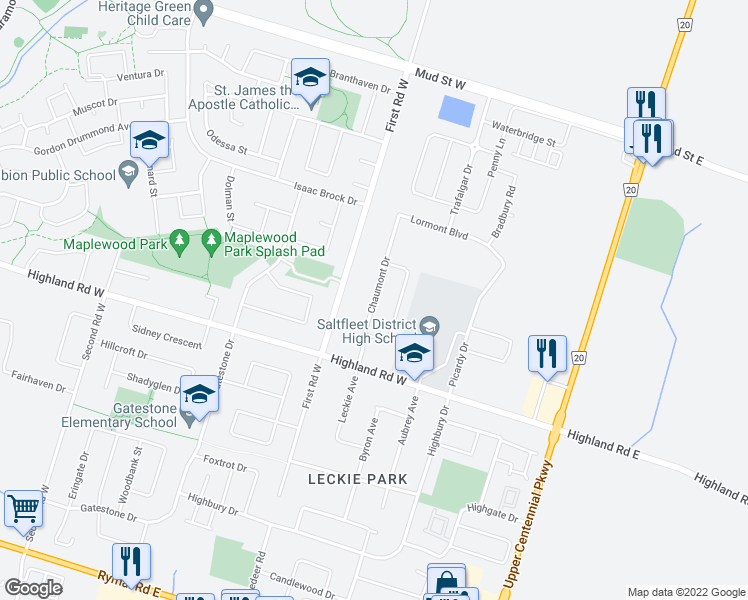 map of restaurants, bars, coffee shops, grocery stores, and more near Narbonne Crescent in Hamilton