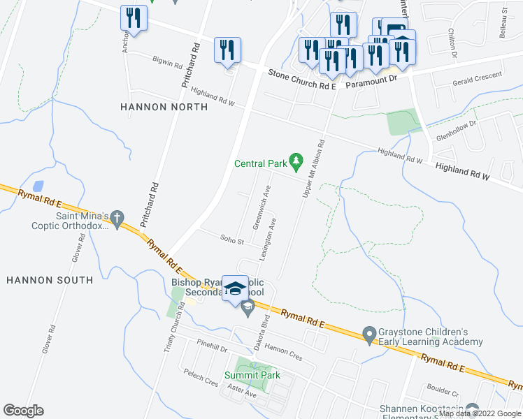 map of restaurants, bars, coffee shops, grocery stores, and more near 29 Greenwich Avenue in Hamilton
