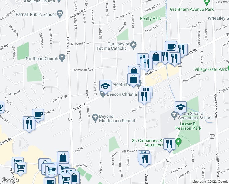map of restaurants, bars, coffee shops, grocery stores, and more near 308 Scott Street in St. Catharines