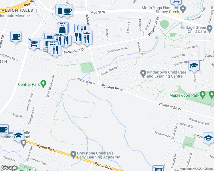 map of restaurants, bars, coffee shops, grocery stores, and more near 365-385 Highland Road West in Hamilton