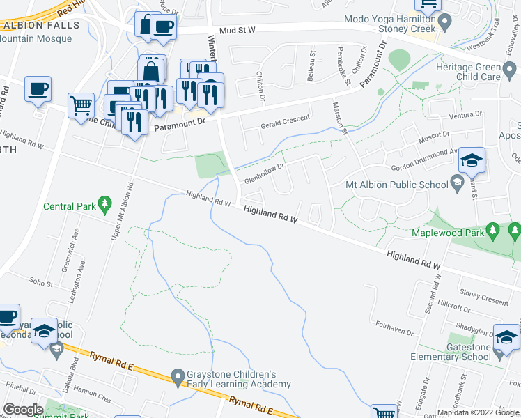 map of restaurants, bars, coffee shops, grocery stores, and more near 386 Highland Road West in Hamilton