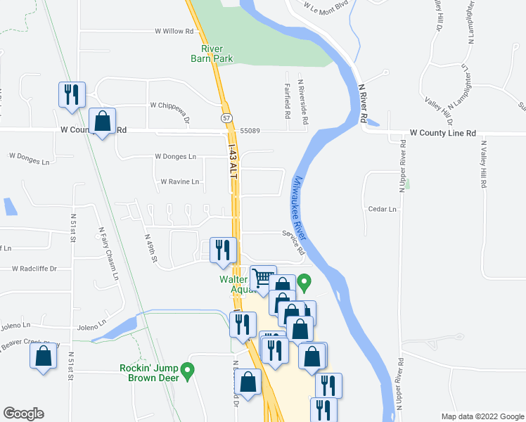 map of restaurants, bars, coffee shops, grocery stores, and more near 9418 North Green Bay Road in Milwaukee