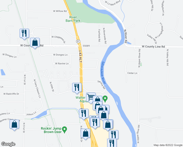 map of restaurants, bars, coffee shops, grocery stores, and more near 9418 North Green Bay Road in Brown Deer