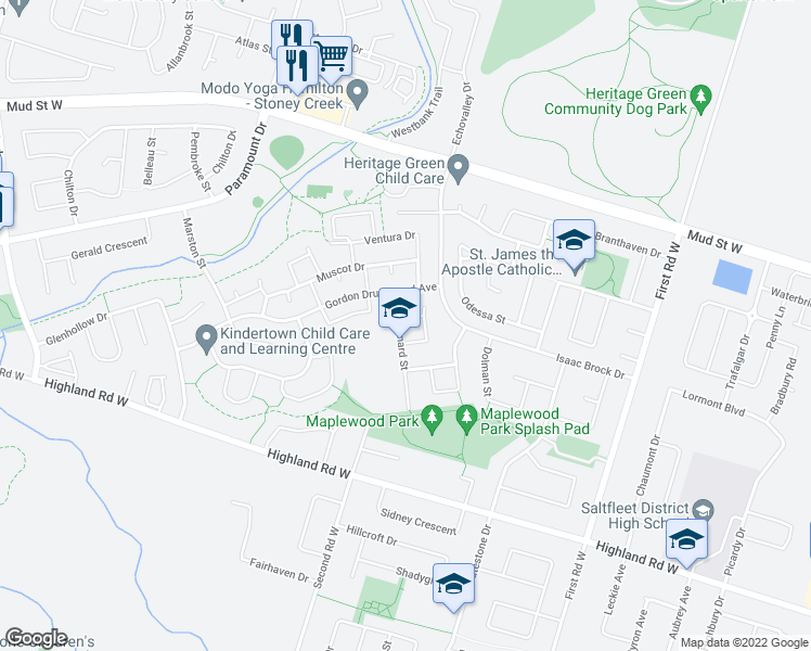 map of restaurants, bars, coffee shops, grocery stores, and more near 24 Kennard St in Hamilton