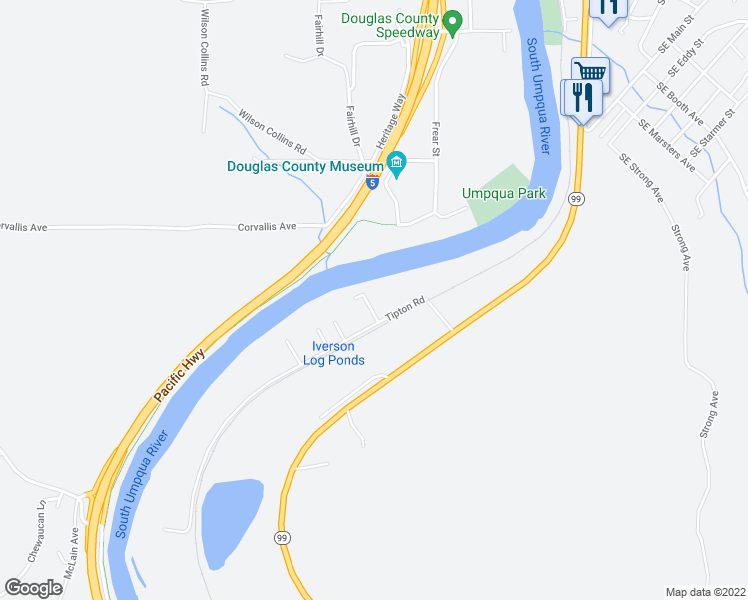 map of restaurants, bars, coffee shops, grocery stores, and more near 312 Tipton Road in Roseburg