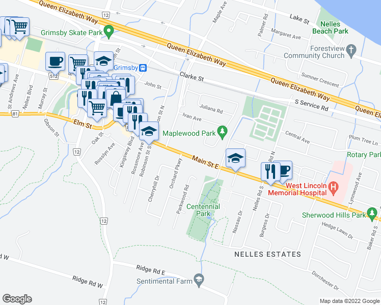 map of restaurants, bars, coffee shops, grocery stores, and more near 93 Main Street East in Grimsby