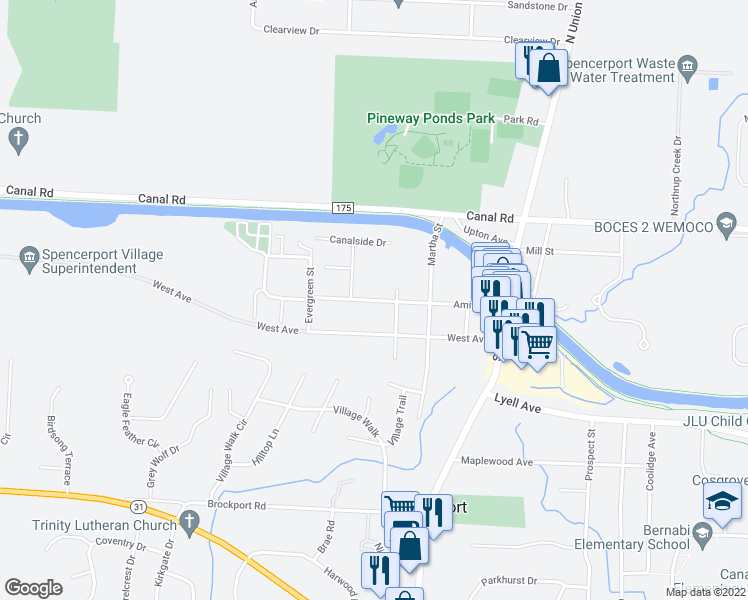 map of restaurants, bars, coffee shops, grocery stores, and more near Amity Street in Spencerport