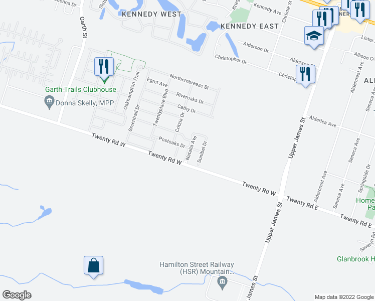 map of restaurants, bars, coffee shops, grocery stores, and more near 24 Postoaks Drive in Hamilton