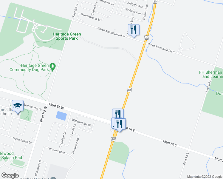 map of restaurants, bars, coffee shops, grocery stores, and more near in Hamilton