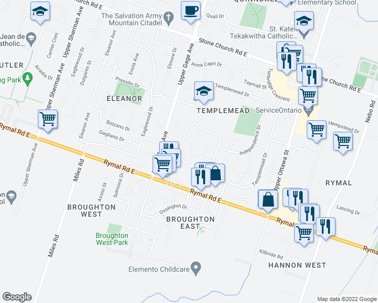 map of restaurants, bars, coffee shops, grocery stores, and more near 766 Templemead Drive in Hamilton
