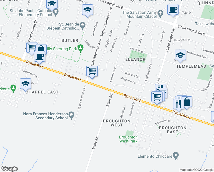 map of restaurants, bars, coffee shops, grocery stores, and more near 226 Eleanor Avenue in Hamilton