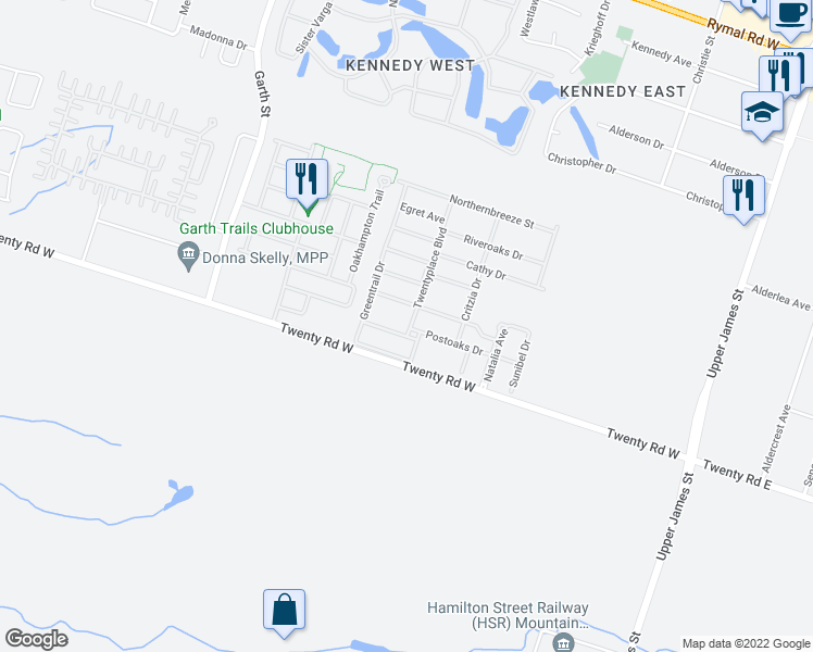 map of restaurants, bars, coffee shops, grocery stores, and more near 87-97 Bluelagoon Dr in Mt Hope