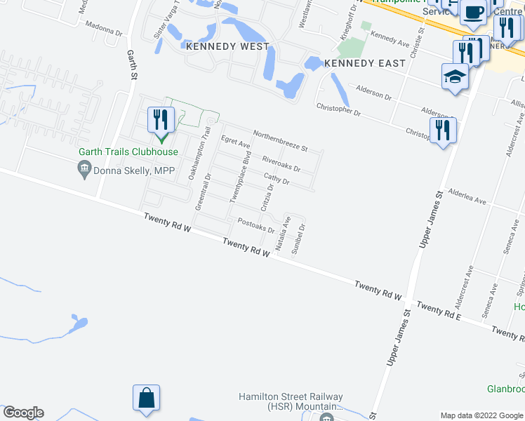 map of restaurants, bars, coffee shops, grocery stores, and more near 59 Critzia Drive in Hamilton