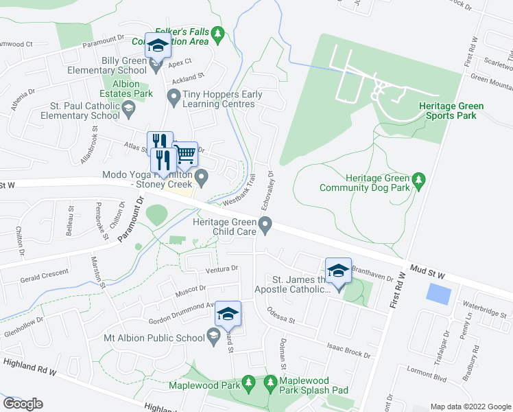 map of restaurants, bars, coffee shops, grocery stores, and more near 21 Echovalley Drive in Hamilton
