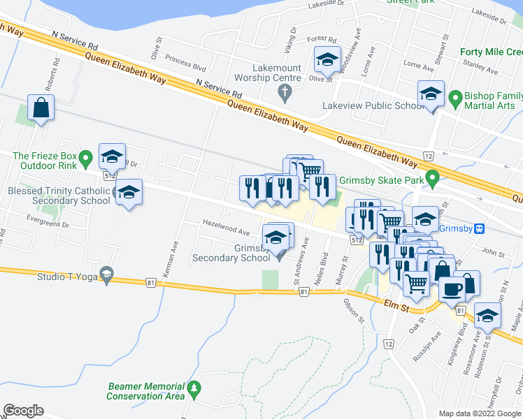 map of restaurants, bars, coffee shops, grocery stores, and more near 70 Livingston Avenue in Grimsby