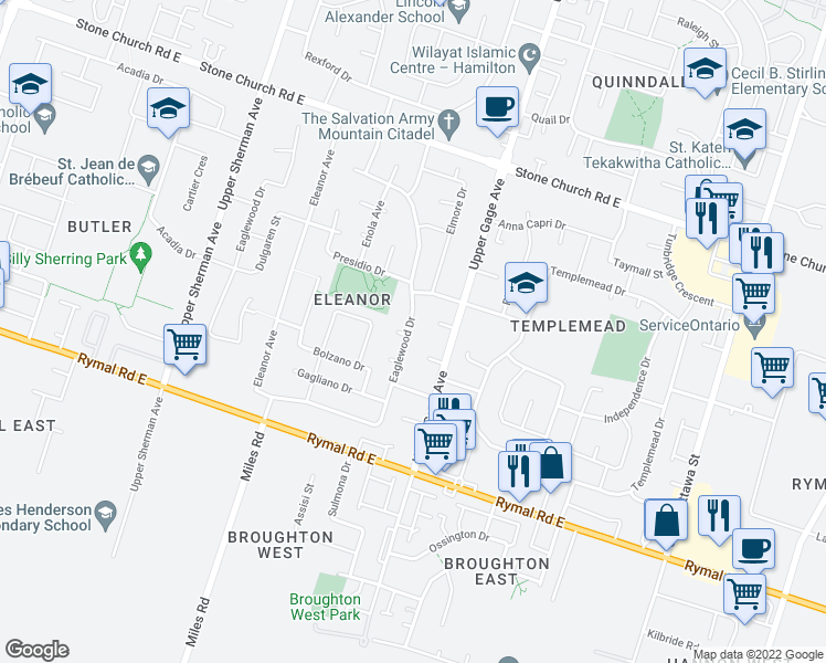 map of restaurants, bars, coffee shops, grocery stores, and more near 409 Eaglewood Drive in Hamilton