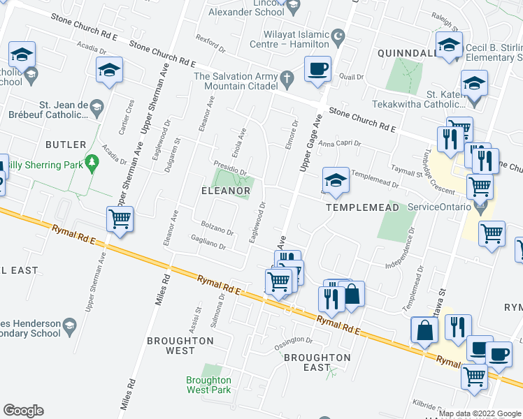 map of restaurants, bars, coffee shops, grocery stores, and more near 413 Eaglewood Drive in Hamilton