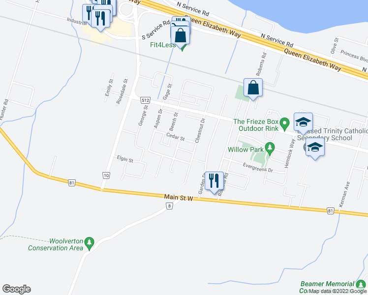 map of restaurants, bars, coffee shops, grocery stores, and more near 7 Mulberry Lane in Grimsby