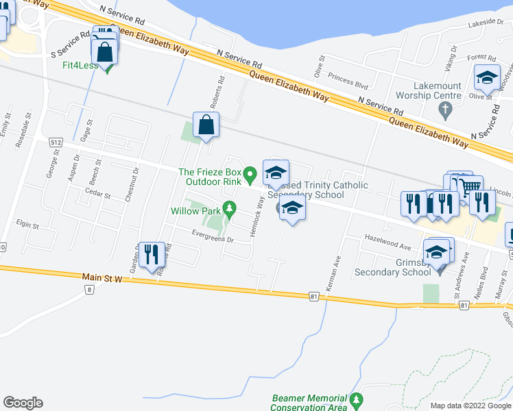 map of restaurants, bars, coffee shops, grocery stores, and more near 24 Hemlock Way in Grimsby