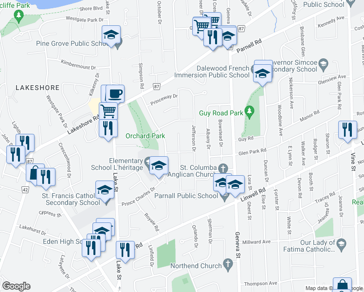 map of restaurants, bars, coffee shops, grocery stores, and more near 48 Howard Avenue in St. Catharines
