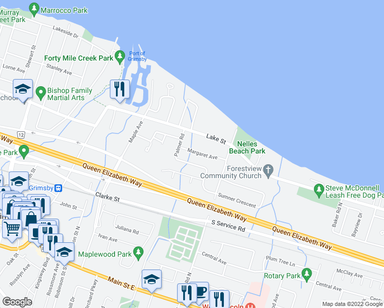 map of restaurants, bars, coffee shops, grocery stores, and more near 24 Margaret Avenue in Grimsby
