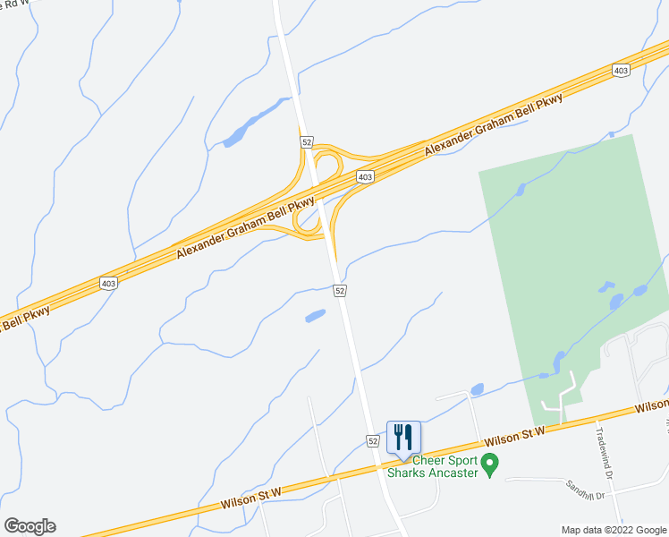 map of restaurants, bars, coffee shops, grocery stores, and more near 310 Highway 52 in Hamilton