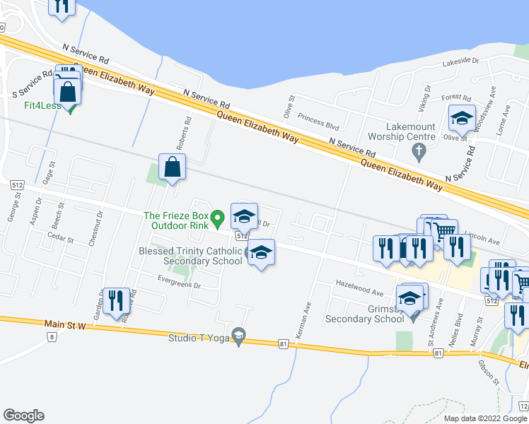 map of restaurants, bars, coffee shops, grocery stores, and more near 39 Merritt Crescent in Grimsby