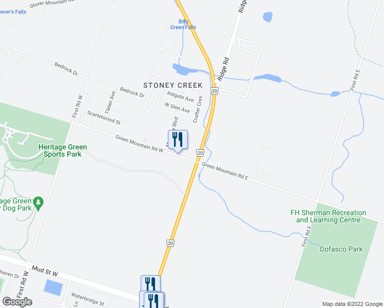 map of restaurants, bars, coffee shops, grocery stores, and more near 22 Green Mountain Road West in Hamilton