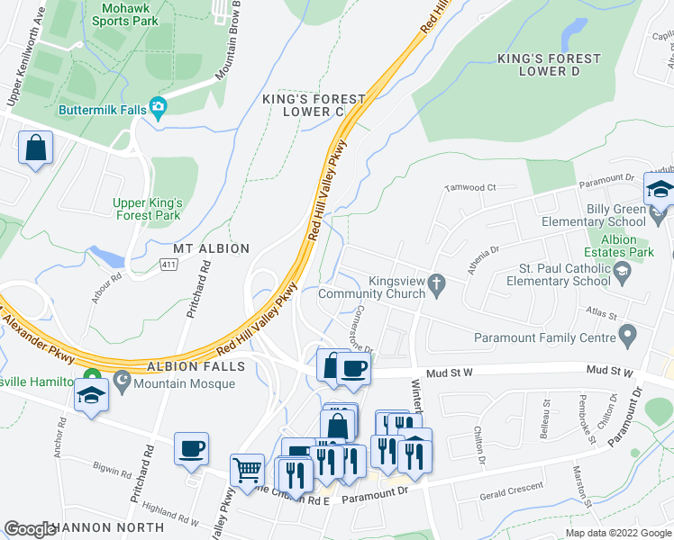 map of restaurants, bars, coffee shops, grocery stores, and more near 134 Kingsview Drive in Hamilton