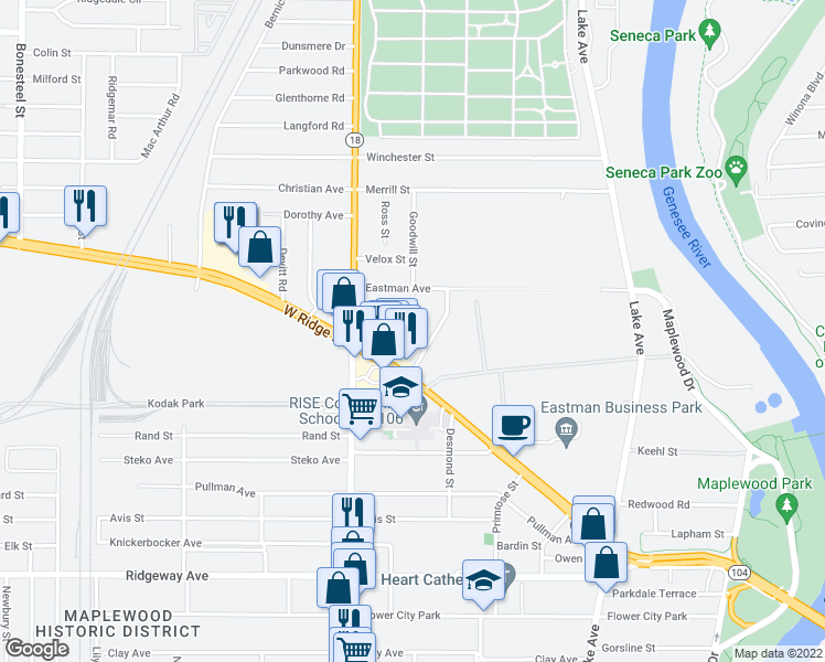map of restaurants, bars, coffee shops, grocery stores, and more near 59 Goodwill Street in Rochester