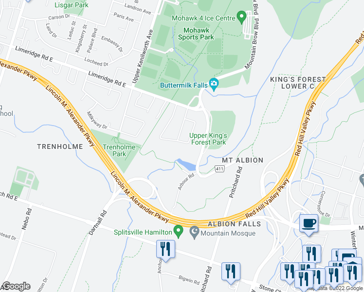 map of restaurants, bars, coffee shops, grocery stores, and more near 108 Albion Falls Boulevard in Hamilton