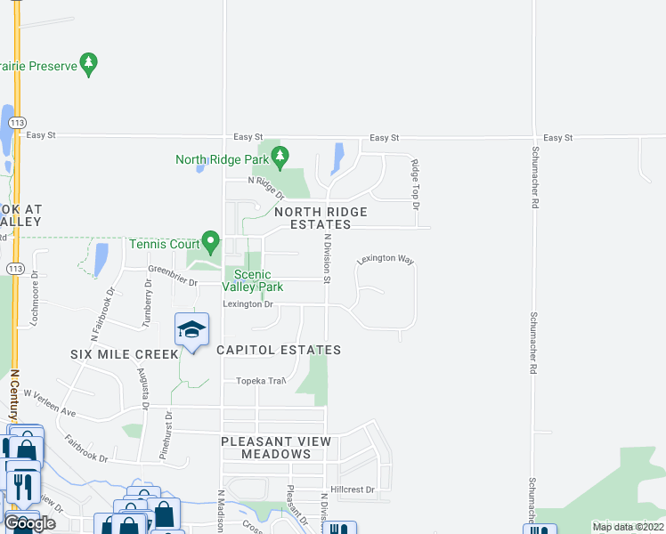 map of restaurants, bars, coffee shops, grocery stores, and more near 1003 N Division St in Waunakee