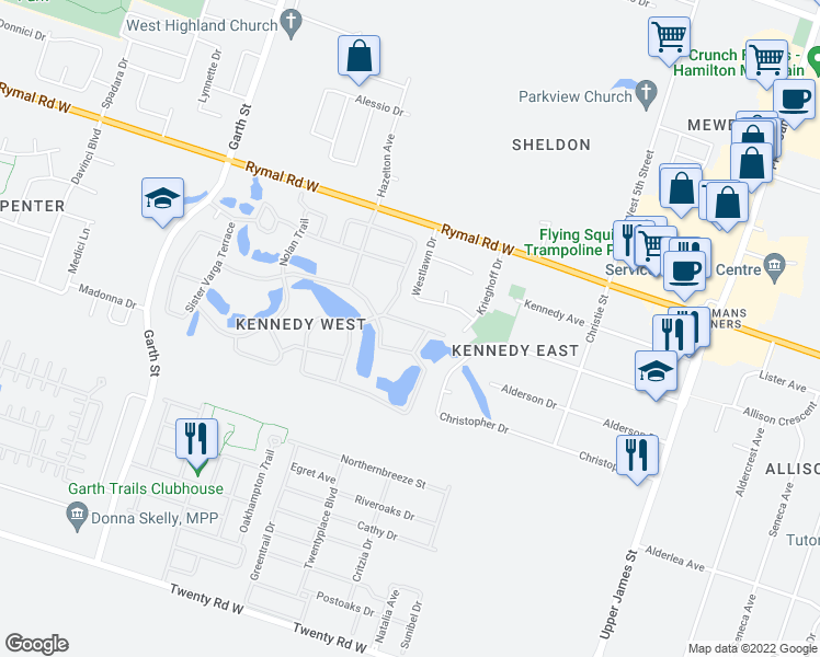 map of restaurants, bars, coffee shops, grocery stores, and more near 70 Westlawn Drive in Hamilton