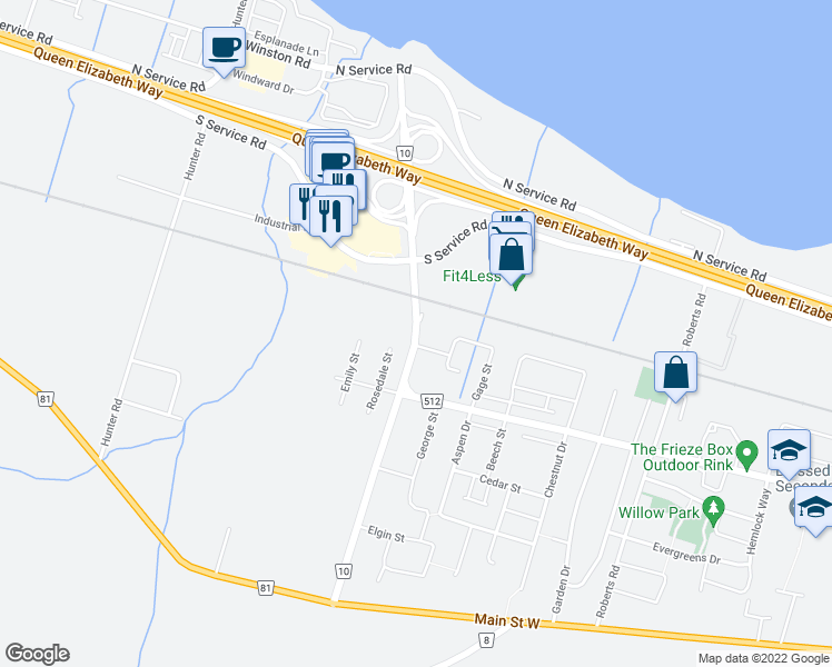 map of restaurants, bars, coffee shops, grocery stores, and more near Casablanca Boulevard in Grimsby