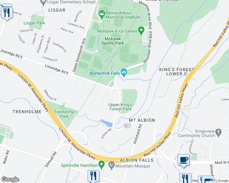 map of restaurants, bars, coffee shops, grocery stores, and more near 164 Albion Falls Boulevard in Hamilton