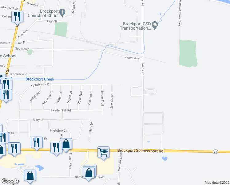 map of restaurants, bars, coffee shops, grocery stores, and more near 5 Hickory Way in Brockport