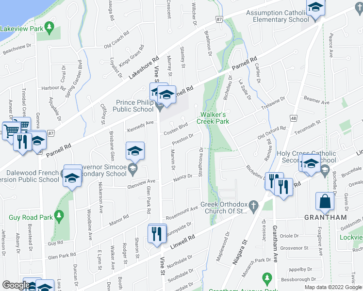 map of restaurants, bars, coffee shops, grocery stores, and more near 36 Marvin Drive in St. Catharines