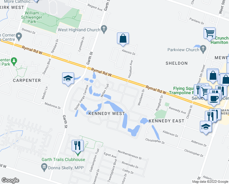 map of restaurants, bars, coffee shops, grocery stores, and more near 37 Bishop Tonnos Way in Hamilton